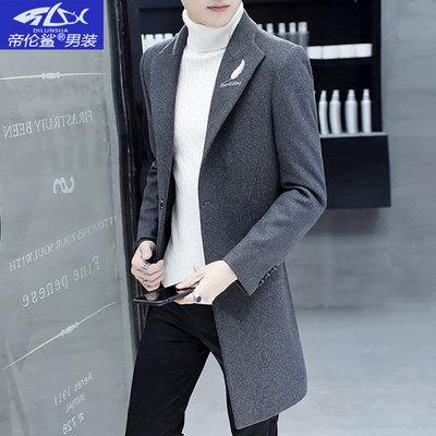 中长款风衣2018新款韩版流行毛呢男士羊毛呢子大衣男冬季妮子外套