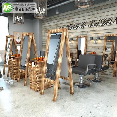 发廊镜子欧式做旧剪发镜子壁挂式双面镜落地实木理发店镜美发镜台