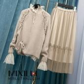 女钉珠毛衣丝绒网纱半身裙chic小香风两件套 套装 泰国潮牌秋装 女装图片