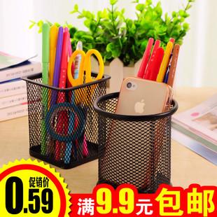创意时尚多功能方笔筒学生桌面圆形笔桶收纳盒工具办公文具用品