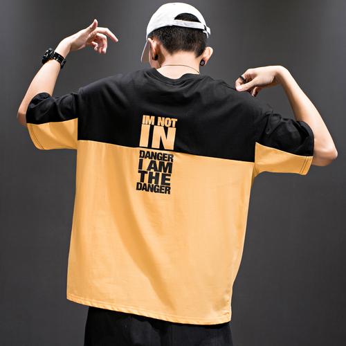 欧美夏季嘻哈印花短袖T恤男宽松衣服男士半袖t男装潮牌ins体恤衫
