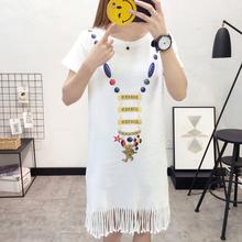 2018上新款夏季韩版中长款流苏连衣裙女生宽松显瘦百搭短袖裙子T