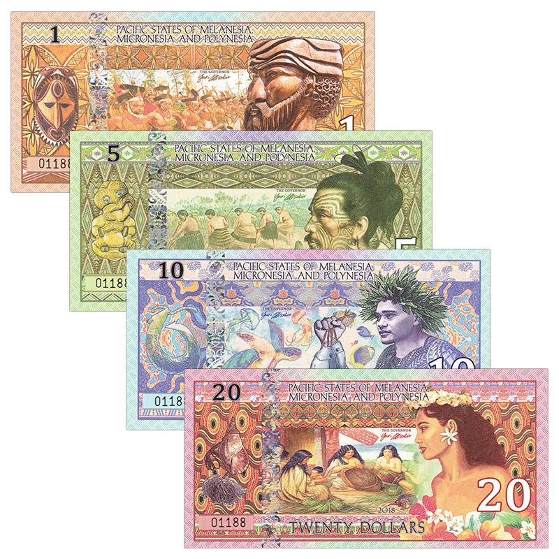 全新UNC 太平洋国家4枚(1,5,10,20元)套币 商业纪念塑料钞 全同号