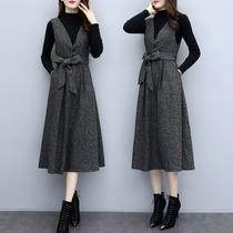 2018秋冬新款大码女装两件套装背带裙显瘦直筒连衣裙洋气减龄