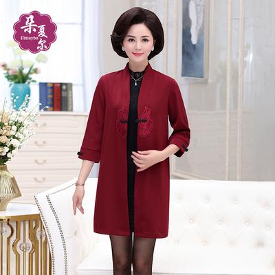 妈妈秋装外套民族风中长款中年女装50-60岁中老年女上衣2018新款