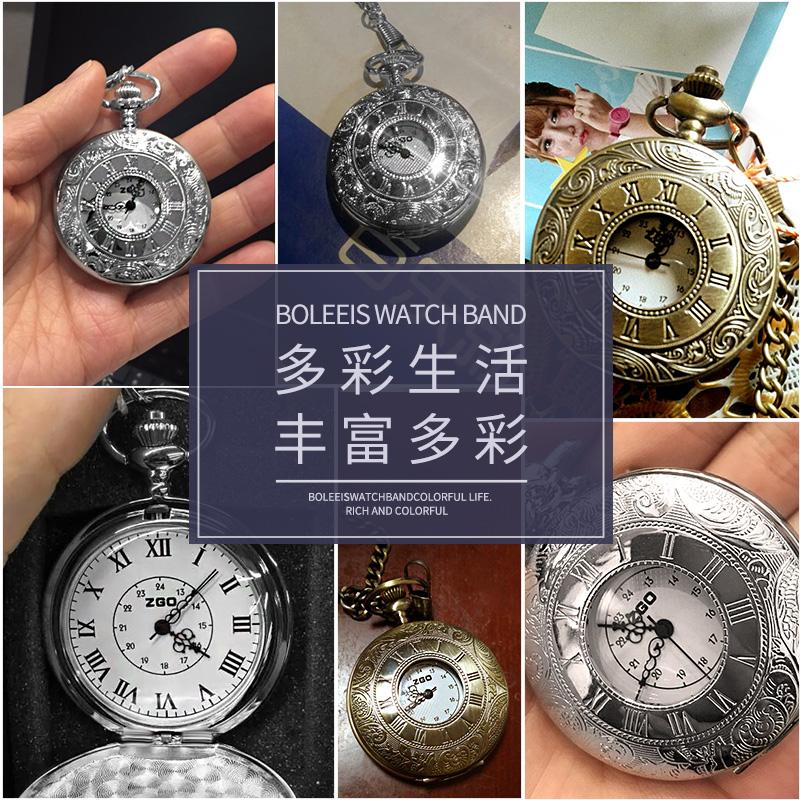 潮流翻盖镂空双显罗马石英怀表男女学生经典复古项链手表包邮礼品