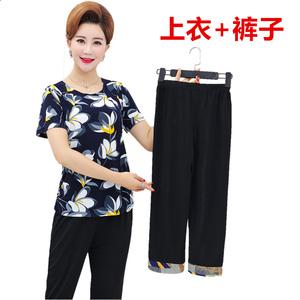 妈妈夏装套装2018新款中年女上衣+裤子中老年短袖t恤奶奶装两件套