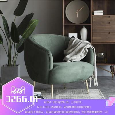 polehome轻奢墨绿色丝绒单人布艺沙发北欧日式休闲单人扶手椅躺椅