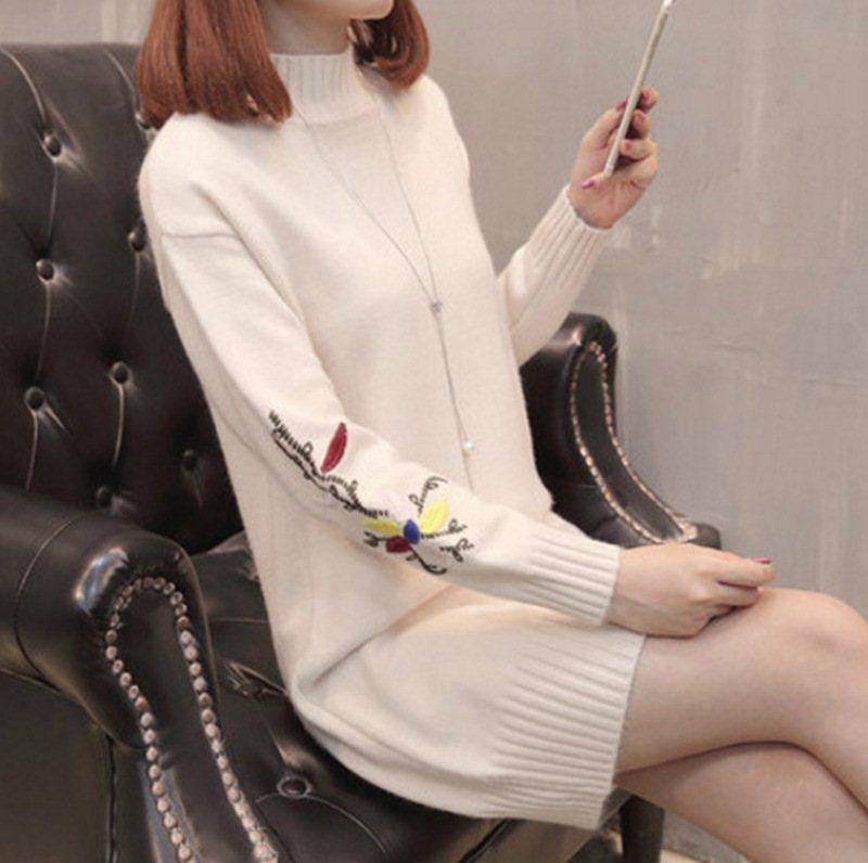 【24色可选】半高领毛衣女中长款韩版长袖刺绣套头针织打底衫