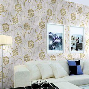古典欧式烫金印花客厅卧室墙布立体茉莉花图案沙发背景墙壁纸墙纸