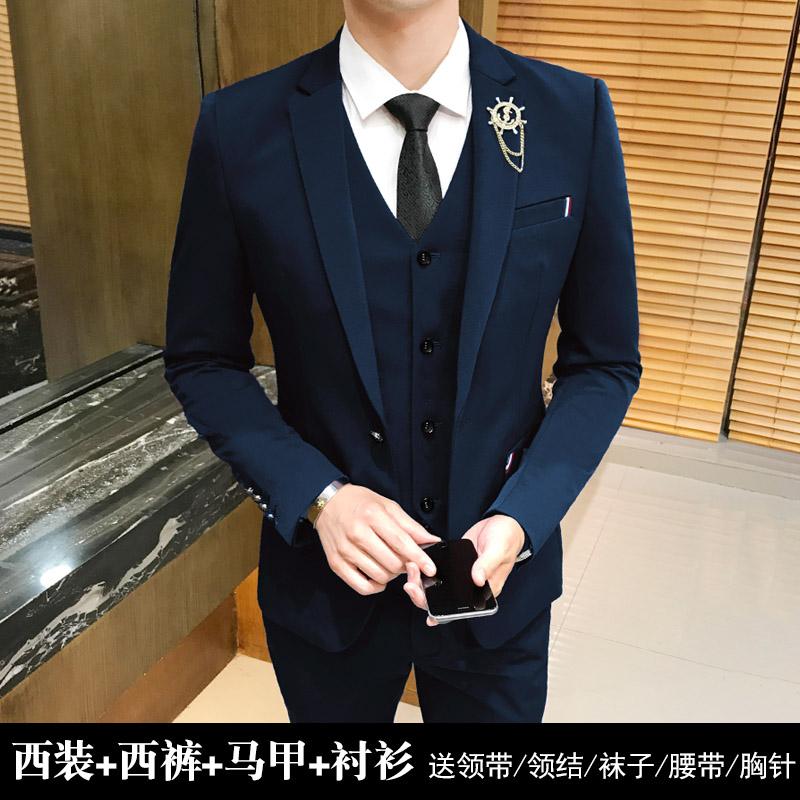 男士西服套装韩版修身新郎服装外套职业商务正装结婚休闲小西装潮