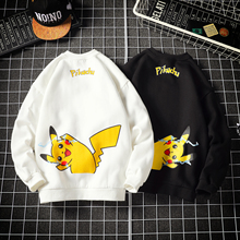 Liji Spring and Autumn New-style Sanitary Clothes for Men and Japanese Fashion Couple Pikachu Jacket Loose Round-necked Long-sleeved Casual Top