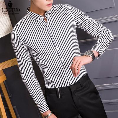 春季新款条纹男士长袖衬衫免烫韩版修身休闲竖纹男寸衫男装衬衣潮