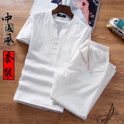 男士套装2018新款夏季两件套亚麻短袖男装社会衣服男韩版潮流休闲