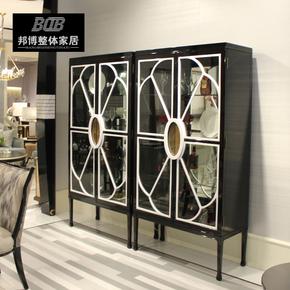 后现代简约轻奢黑色钢琴烤漆酒柜餐厅玻璃门储物柜样板房家具定制