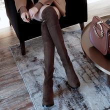 【令戈工作室】2018秋冬新款过膝长靴女平底粗跟弹力高跟长筒靴子