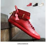 DreamBox潮牌男鞋时尚街头运动真皮金属锁头高帮休闲红色板鞋潮鞋
