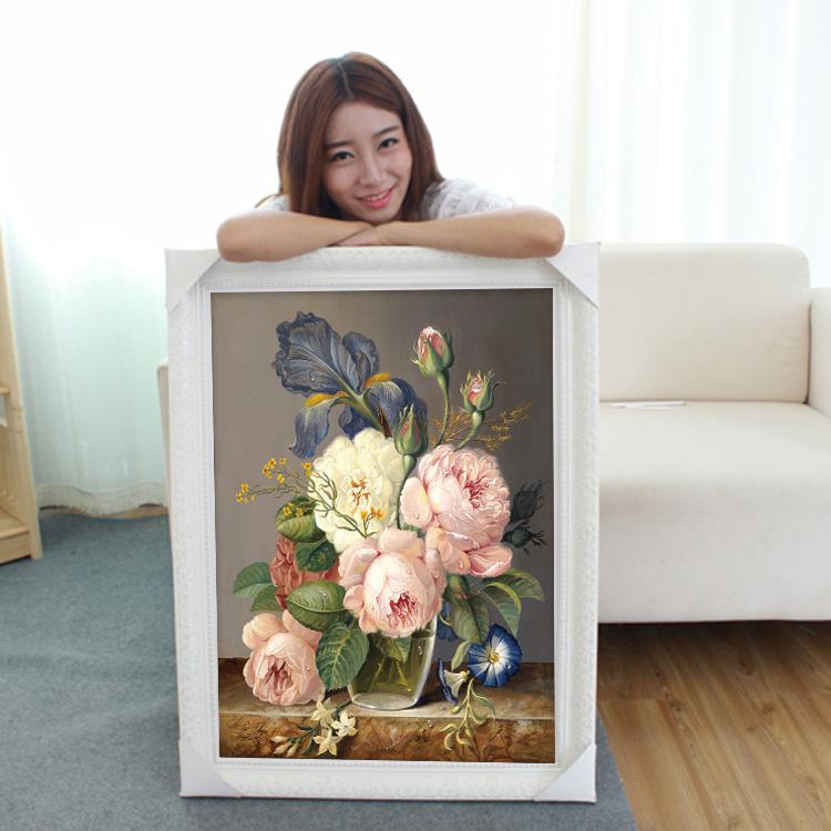 3D十字绣2019新款线绣客厅卧室小幅小件花卉油画花瓶简约现代2018