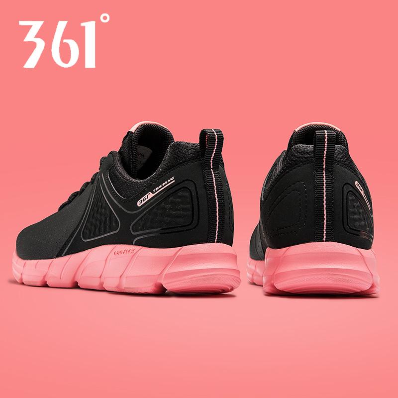 361度女鞋运动鞋秋季轻便透气皮面跑鞋正品女士361休闲黑色跑步鞋