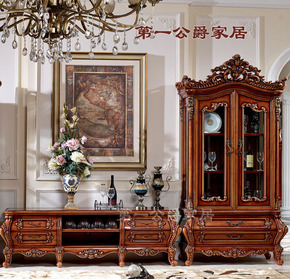 欧式美式古典实木豪宅别墅家具FF17地柜电视柜单门酒柜双门酒柜