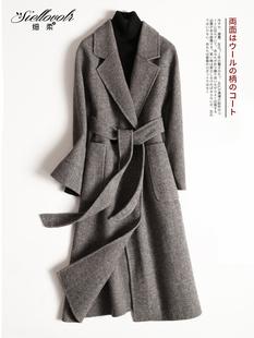 赫本风大衣女羊毛双面呢子外套女中长款韩版2018新款秋冬季无羊绒