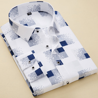 men long sleeve cotton flower shirt mens dress shirts衬衫男