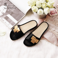 S by STELLA New Spring and Summer Black Cubist Flat-heeled Thick-soled Open-toed Sandals