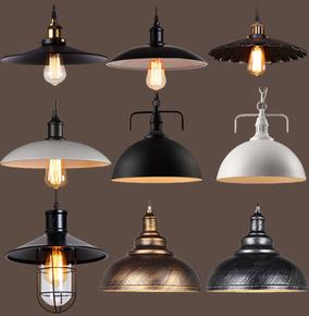 工业风锅盖灯罩美式复古餐厅创意个性理发店酒吧台单头铁艺小吊灯