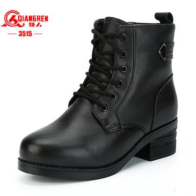 3515强人女鞋冬季羊毛保暖真皮女靴马丁靴加厚加绒棉鞋英伦风军靴