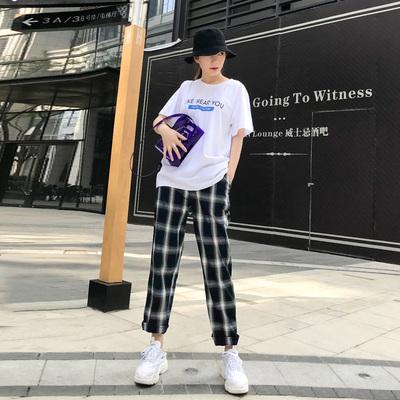 格子裤女夏季2018新款韩版宽松直筒百学生搭ulzzang复古休闲裤子