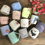 Creative cartoon ceramic cups 3 packs randomly issued a single tail mug large capacity cup breakfast cup