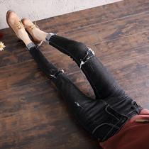 【实拍3010】2018秋冬黑色假破洞高腰牛仔裤女韩版显瘦加绒加厚裤