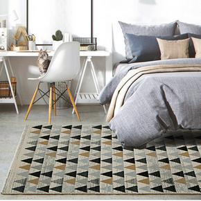 北欧简约房间地毯现代几何图案客厅卧室柔软床边地毯丙纶机织地垫