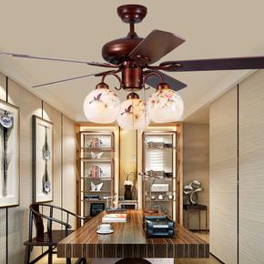 新中式吊扇灯 木叶静音风扇灯中国风led餐厅客厅卧室电风扇吊灯
