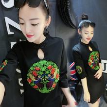 2018秋季新款 连衣裙女时尚 显瘦连衣裙热卖 罗马棉连衣裙女修身