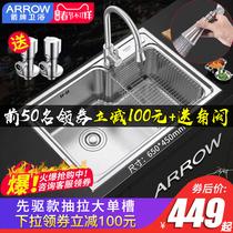 304厨房不锈钢洗菜盆家用洗碗池台下洗菜池水池九牧王水槽单槽