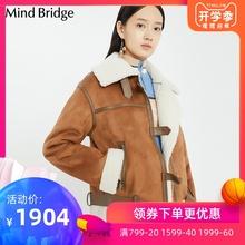 Mind Bridge百家好冬季潮流休闲外套女装韩版修身皮衣MSLT725E图片