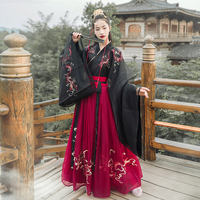 Han Shanghualian night string song Hanfu female big sleeves cross collar skirt waist 6 meters big dragon pattern heavy work embroidery spring and summer