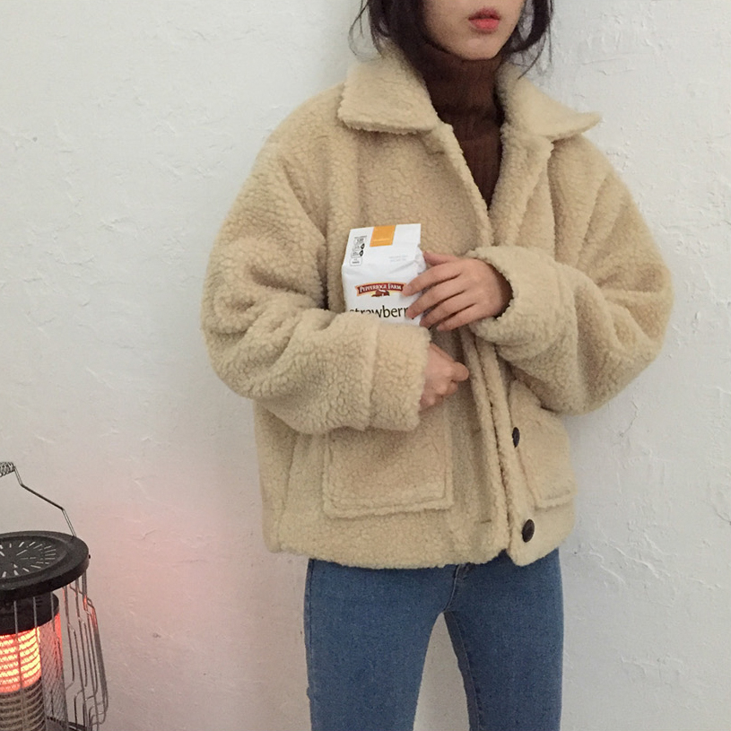 Autumn and winter Korean version of the loose thickening plus cotton lamb coat women's retro wild thin single