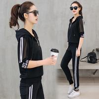 休闲运动套装女2018夏季新款潮韩版跑步服短袖长裤女装时尚两件套
