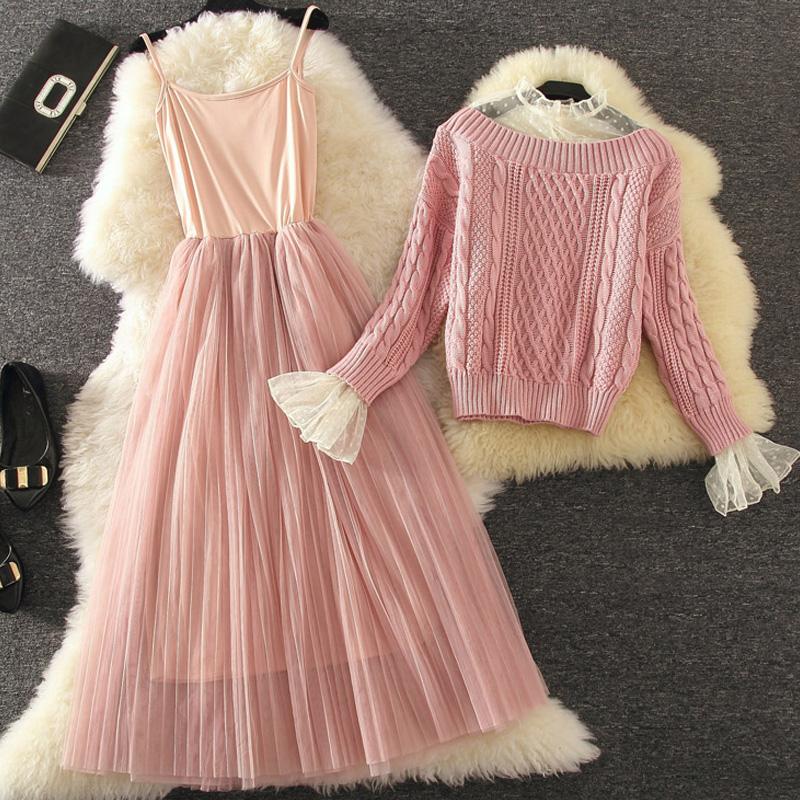 纱网吊带连衣裙