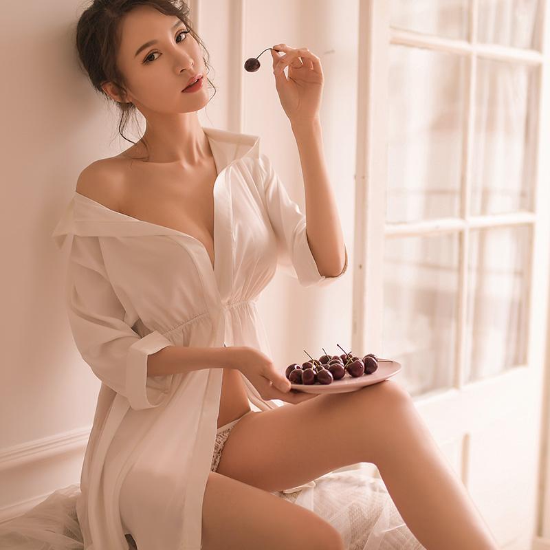 性感情趣睡衣女夏透明火辣骚超短衬衫性趣内衣挑逗男友风衬衣套装