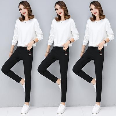 秋季新款时尚女裤高弹力外穿打底裤修身显瘦黑色小脚裤洗水长裤子