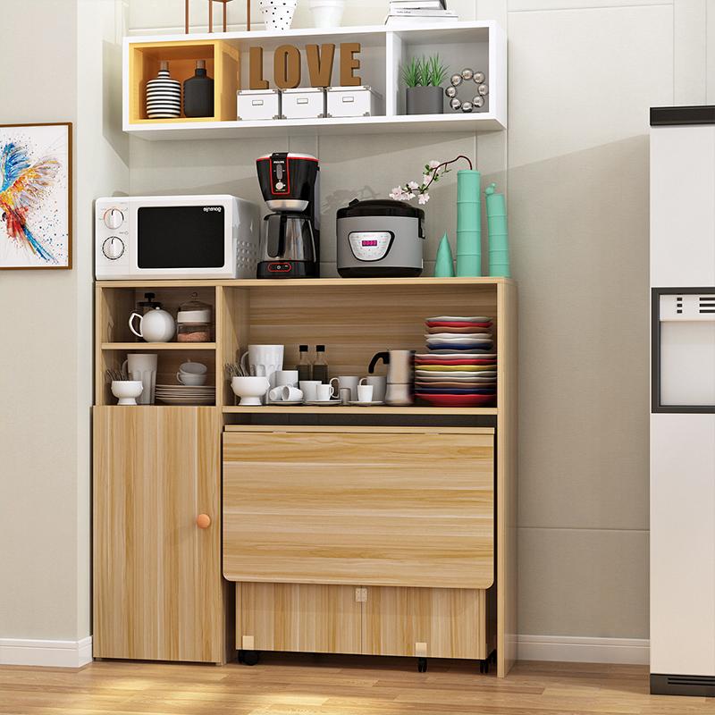 简易小户型折叠餐桌餐边柜碗柜微波炉柜组合多功能可移动吃饭桌子
