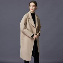 反季秋冬羊毛呢外套 赫本风宽松大码 双面羊绒大衣女中长款 2019新款图片