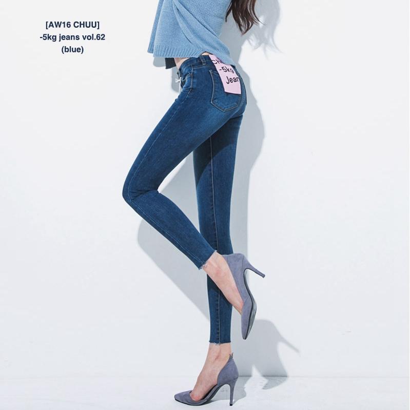 韩国官网代购chuu设计-5kg jeans vol62经典修身显瘦小脚牛仔长裤