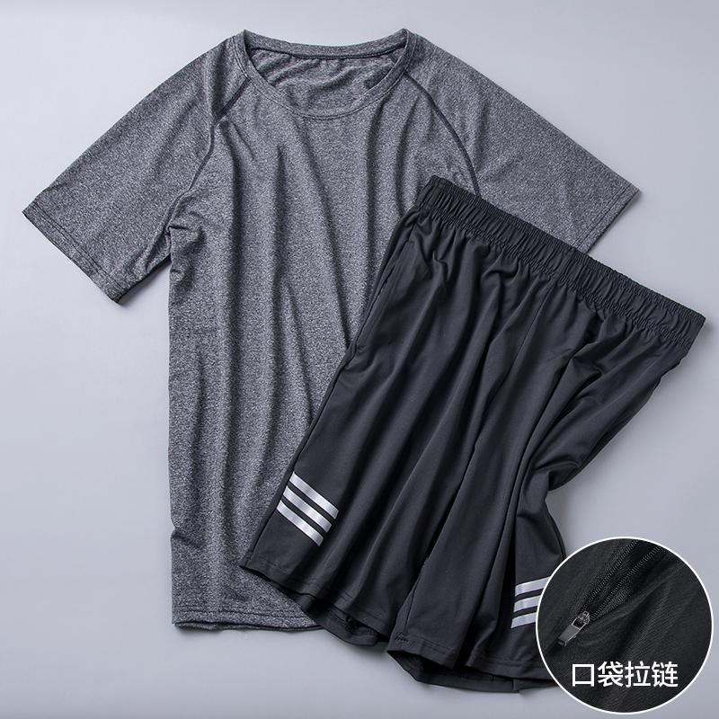 速干衣服男夏季跑步运动套装健身房训练服篮球装备短袖T恤健身服