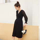Pregnant women's sweater spring and autumn dress 2019 new mid-long style spring knitted dress tide