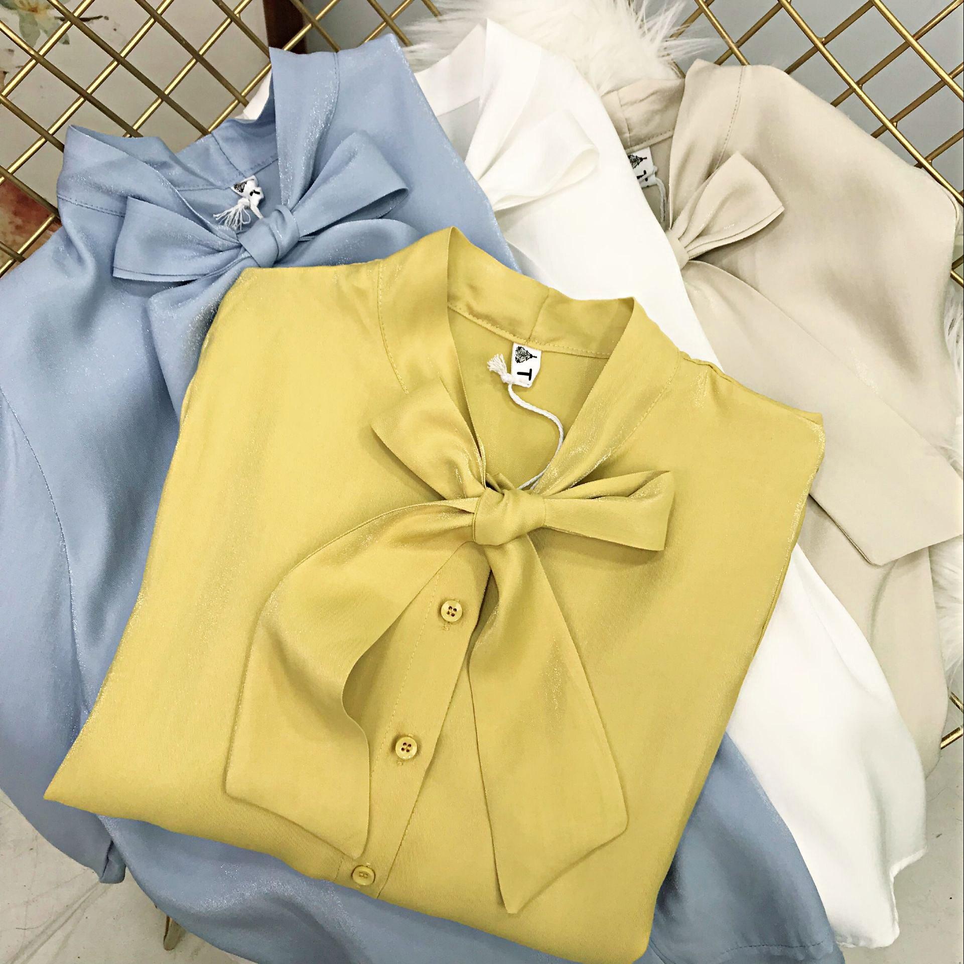 韩版春季新品上衣蝴蝶结系带长袖雪纺衫女宽松大码珠光纯色衬夏潮