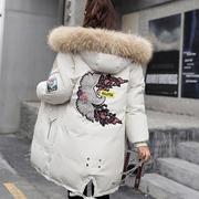 冬季大毛领棉衣女韩版中长款过膝加厚羽绒棉服宽松棉袄冬天外套女